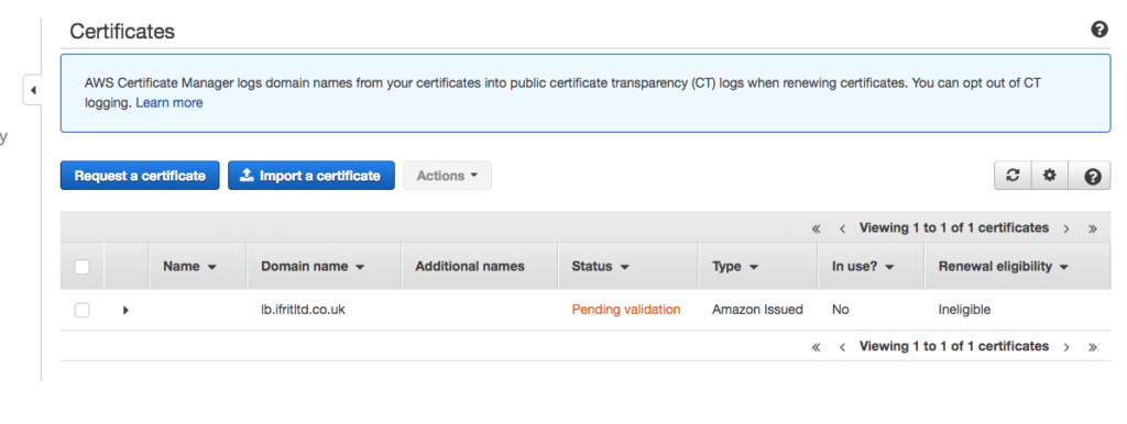 SSL termination with ALB, AWS Certificate Manager and terraform